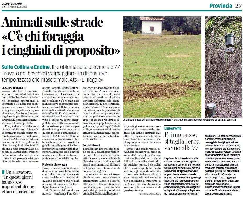 L'Eco di Bergamo del 9 febbraio