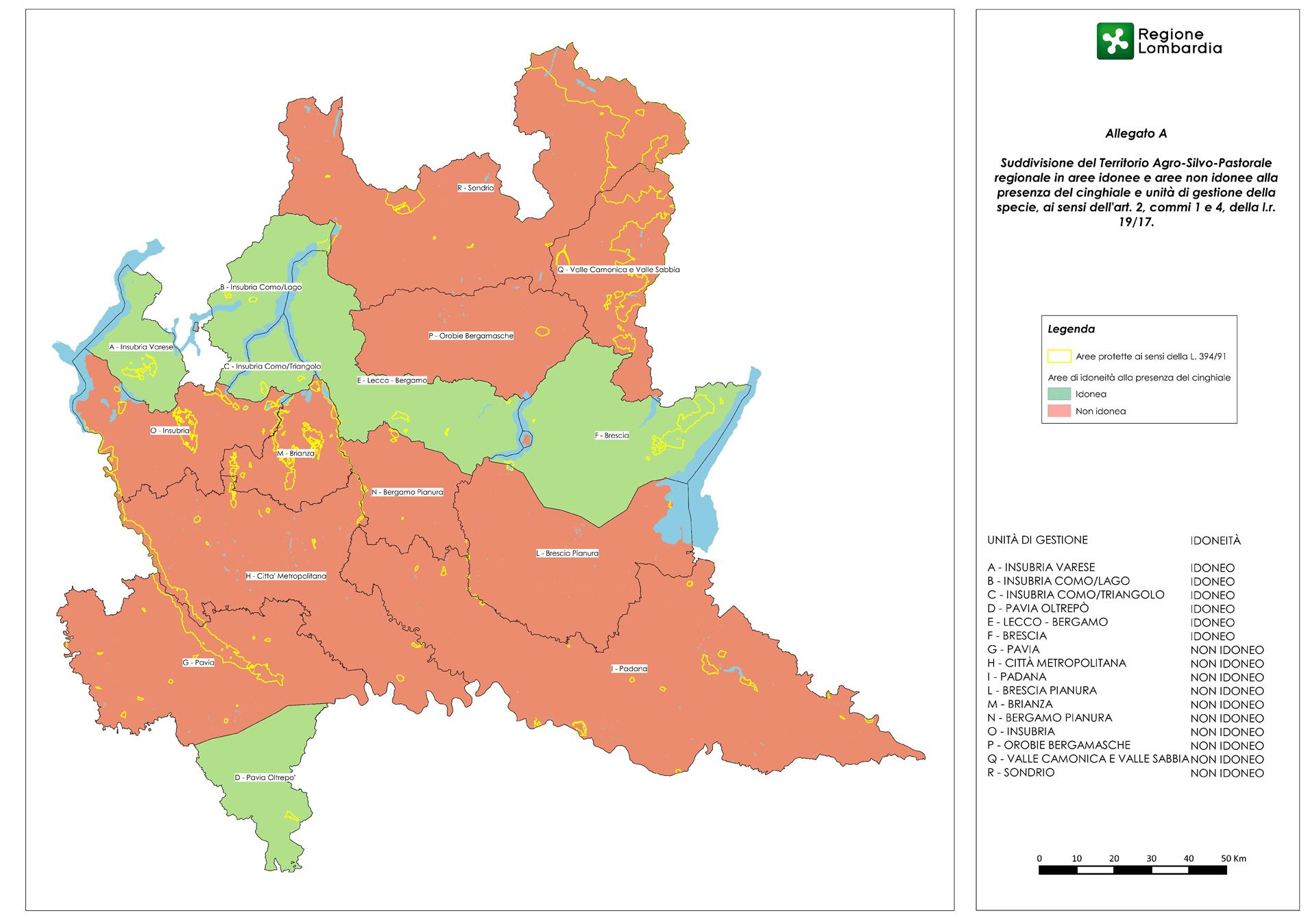 suddivisione del territorio regionale in aree idonee e non idonee alla presenza del cinghiale