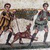 mosaico scenda di caccia con cinghiale